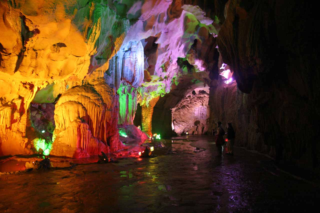 Inside the colorfully lit cave