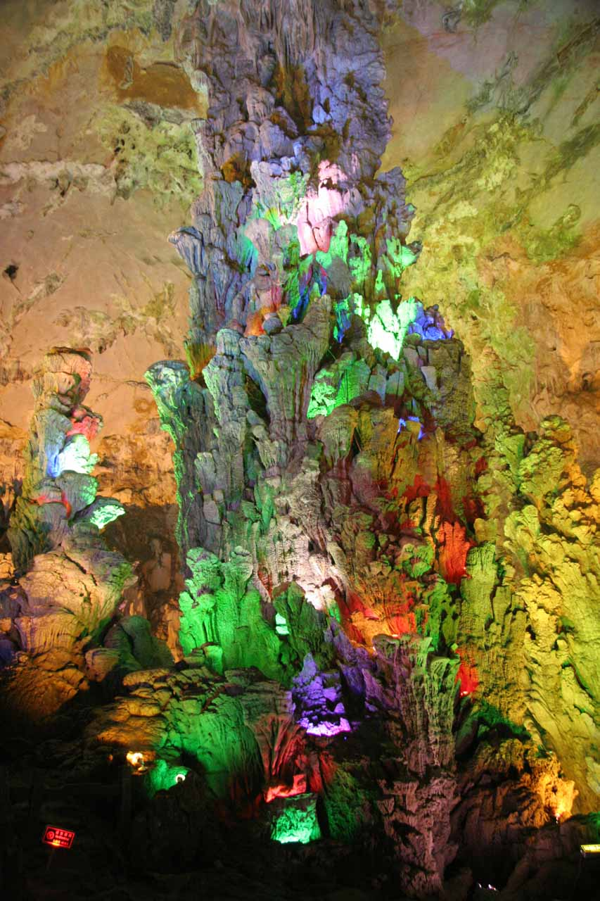 Stalagmite formations rising high up in this chamber