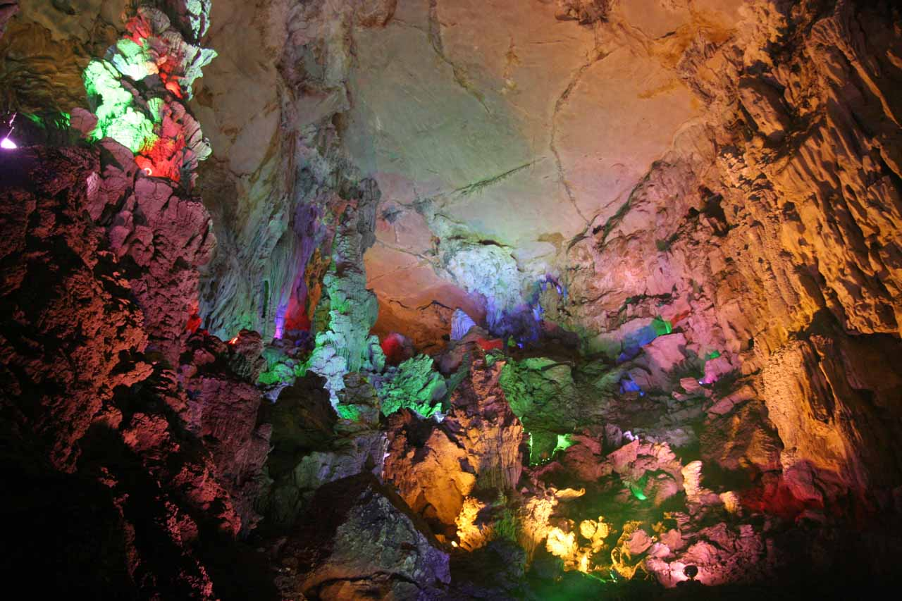 Looking up towards the ceiling of this colorful chamber within the Crown Cave