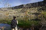 Crystal_Springs_017_04022021 - Julie looking across Crystal Springs Lake towards the Crystal Springs itself