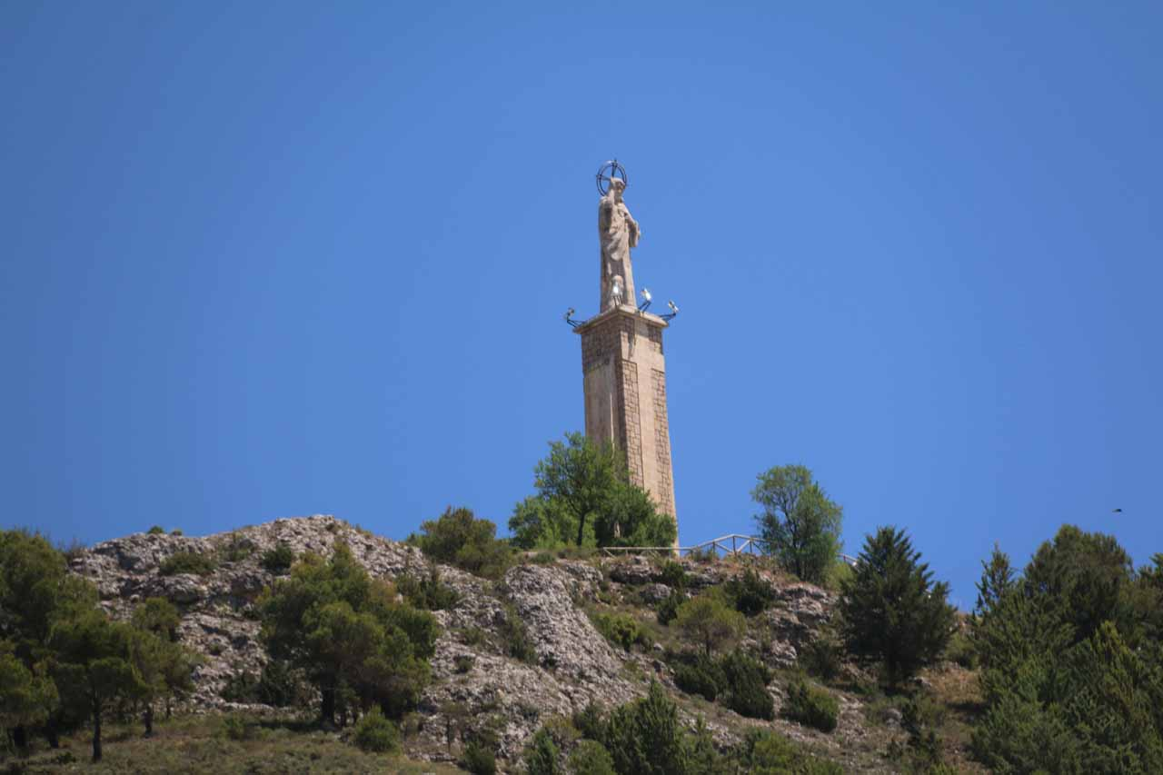 An interesting statue perched atop a cliff overlooking Cuenca