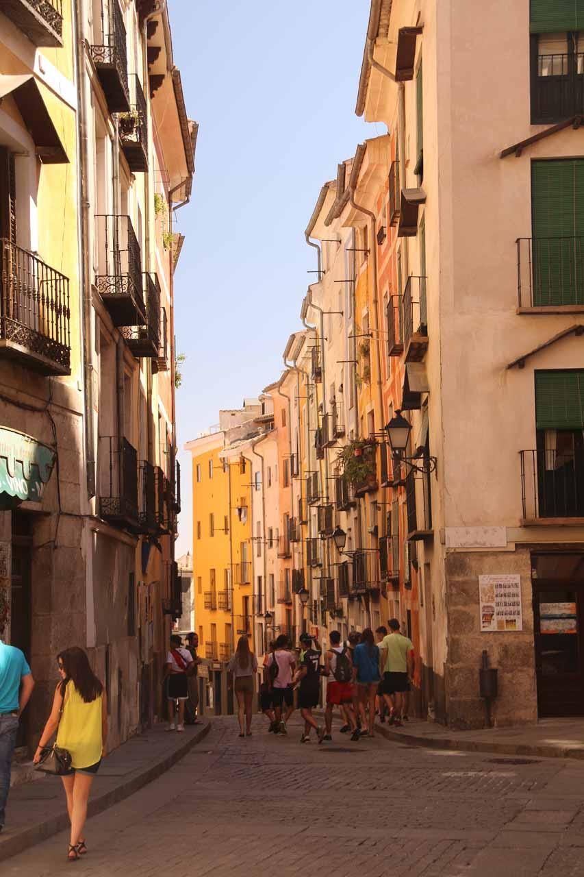Looking towards a bustling street near the Plaza Mayor de Cuenca