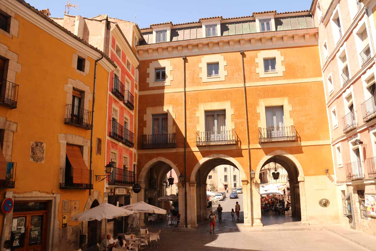 A trio of arches on the southern side of the Plaza Mayor de Cuenca