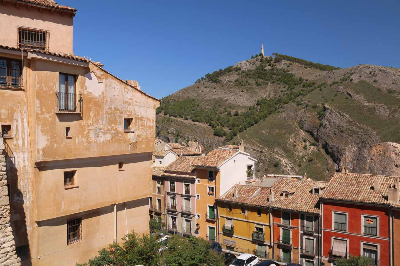 Looking towards the statue atop the hill with some colorful homes of Cuenca's old town