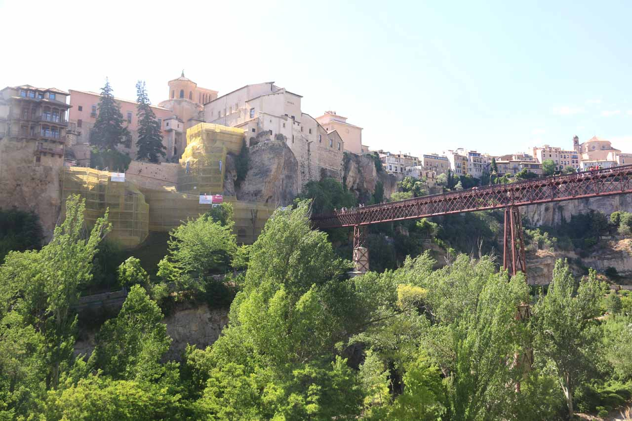 Looking back at the Casas Colgadas in context with the Puente de San Pablo as well as other buildings of Cuenca's old town