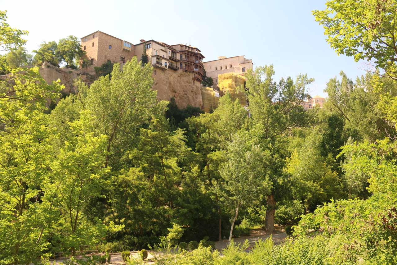 As we were closer to the underground car park, we got this view of the Casas Colgadas seen just above the trees in the gorge