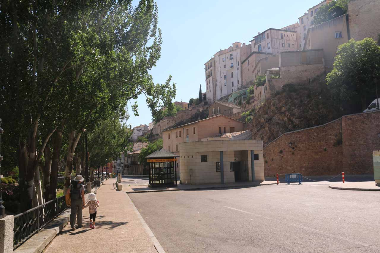 Julie and Tahia walking back to the car park well beneath the Old Town of Cuenca