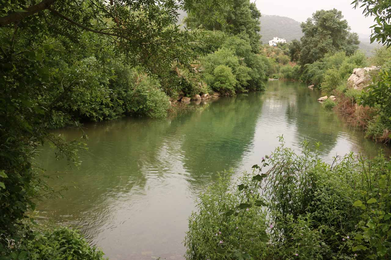 This was a calm part of the Río Guadiaro downstream of the waterfall