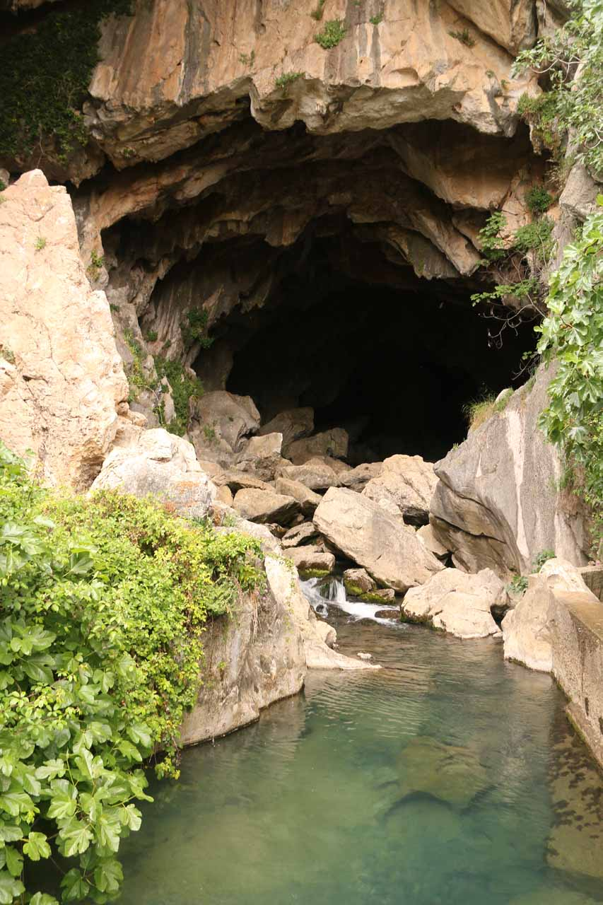 Looking upstream from the catwalk to the opening of the Cueva del Gato