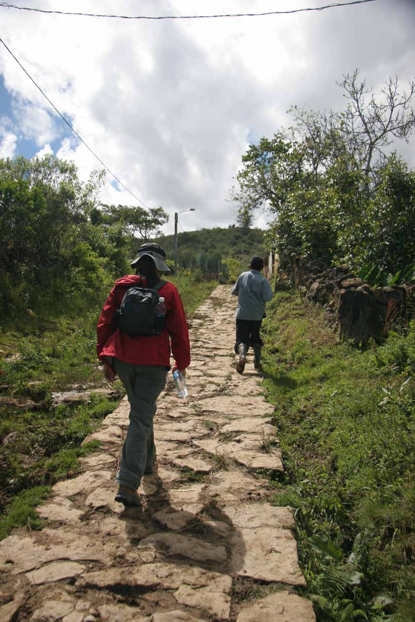 Walking out of the village towards the trail