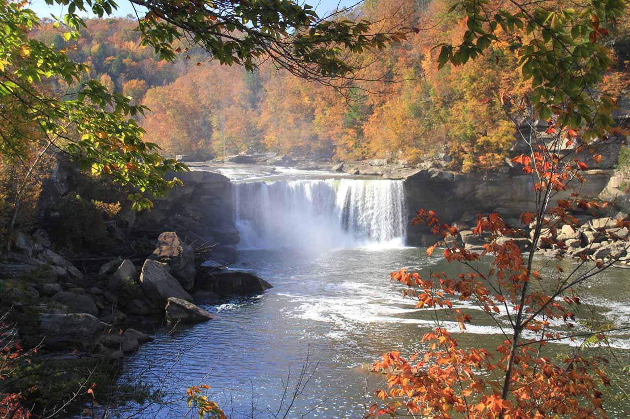 Cumberland Falls framed by colorful Fall foliage
