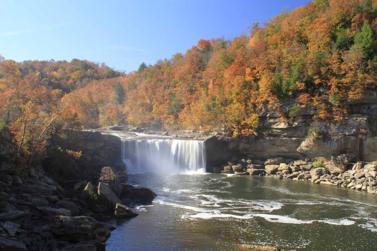 Distant view of Cumberland Falls