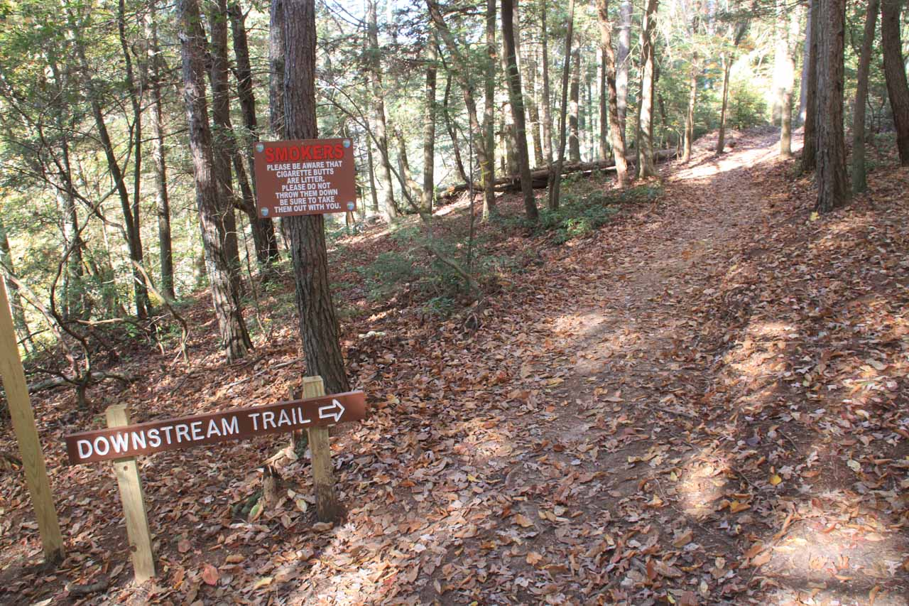 Signs pointing the way to the Downstream Trail