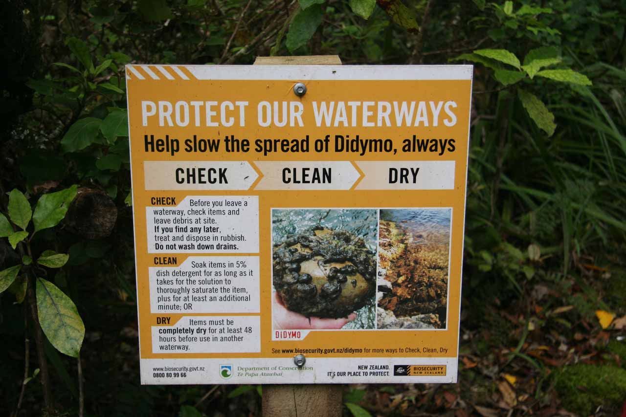 A sign that caught our attention pertaining to Didymo