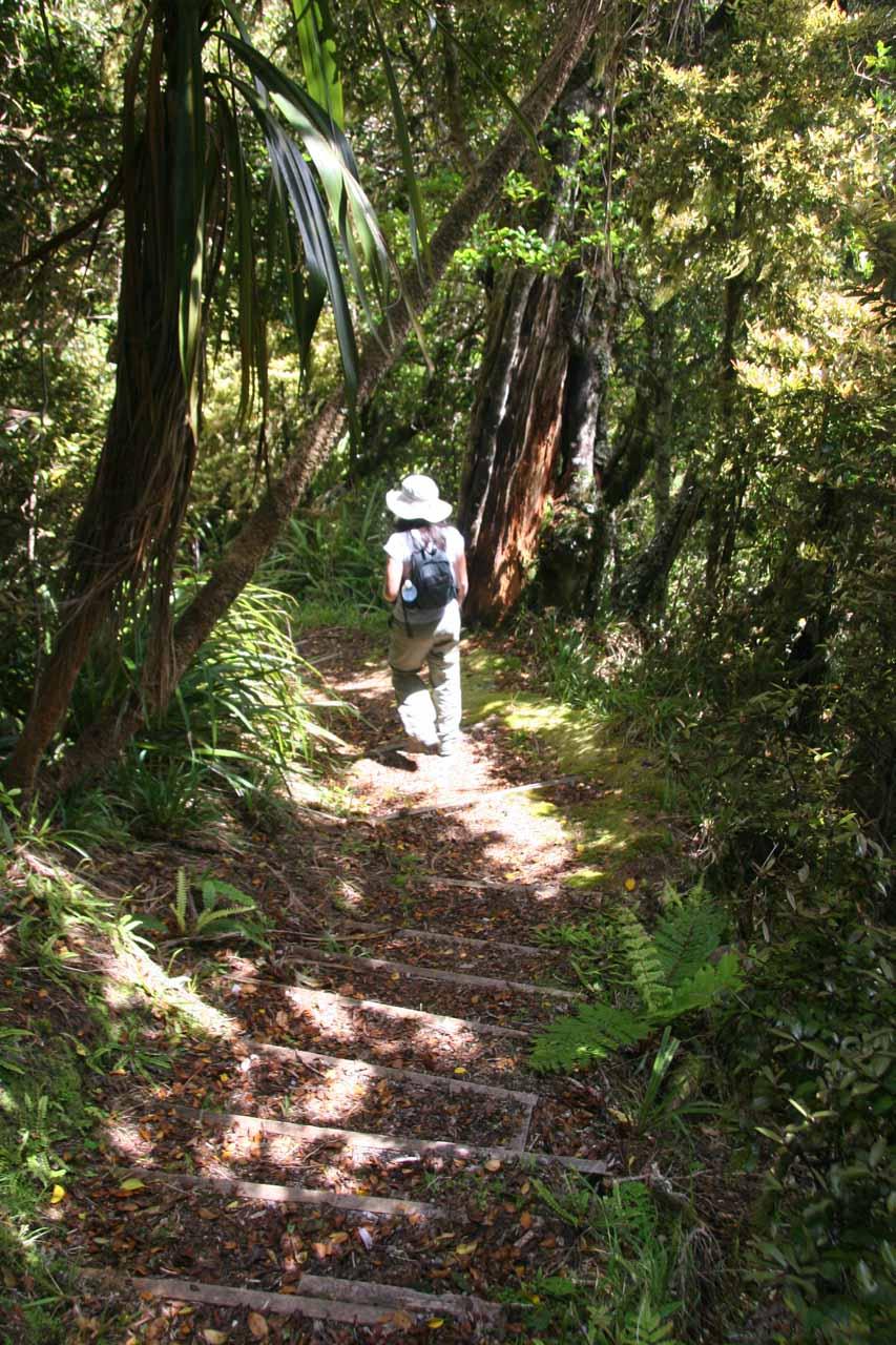 Julie descending towards the next gully