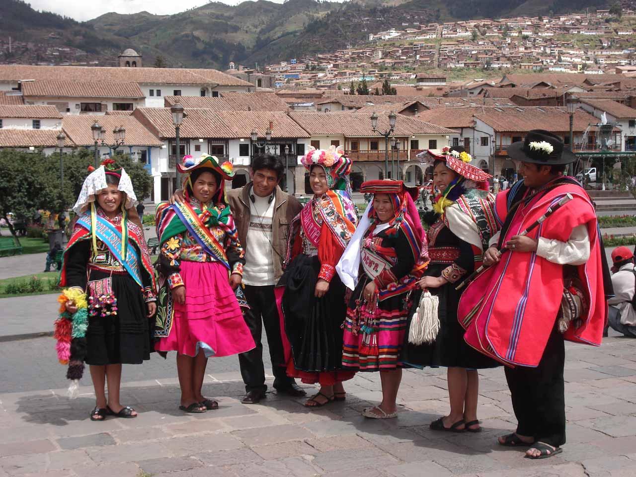 Peruvians in traditional attire