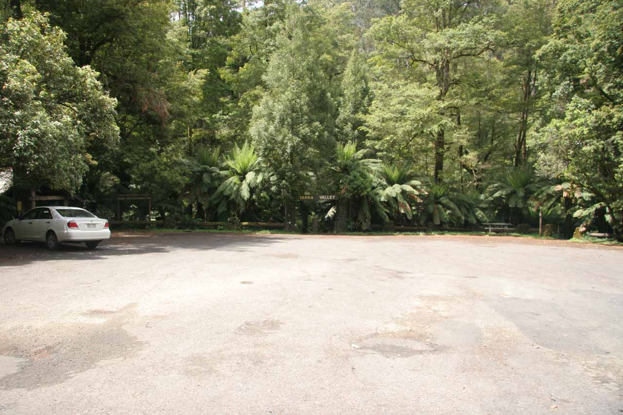 The wide car park at the start of the hike for Cyathea Falls