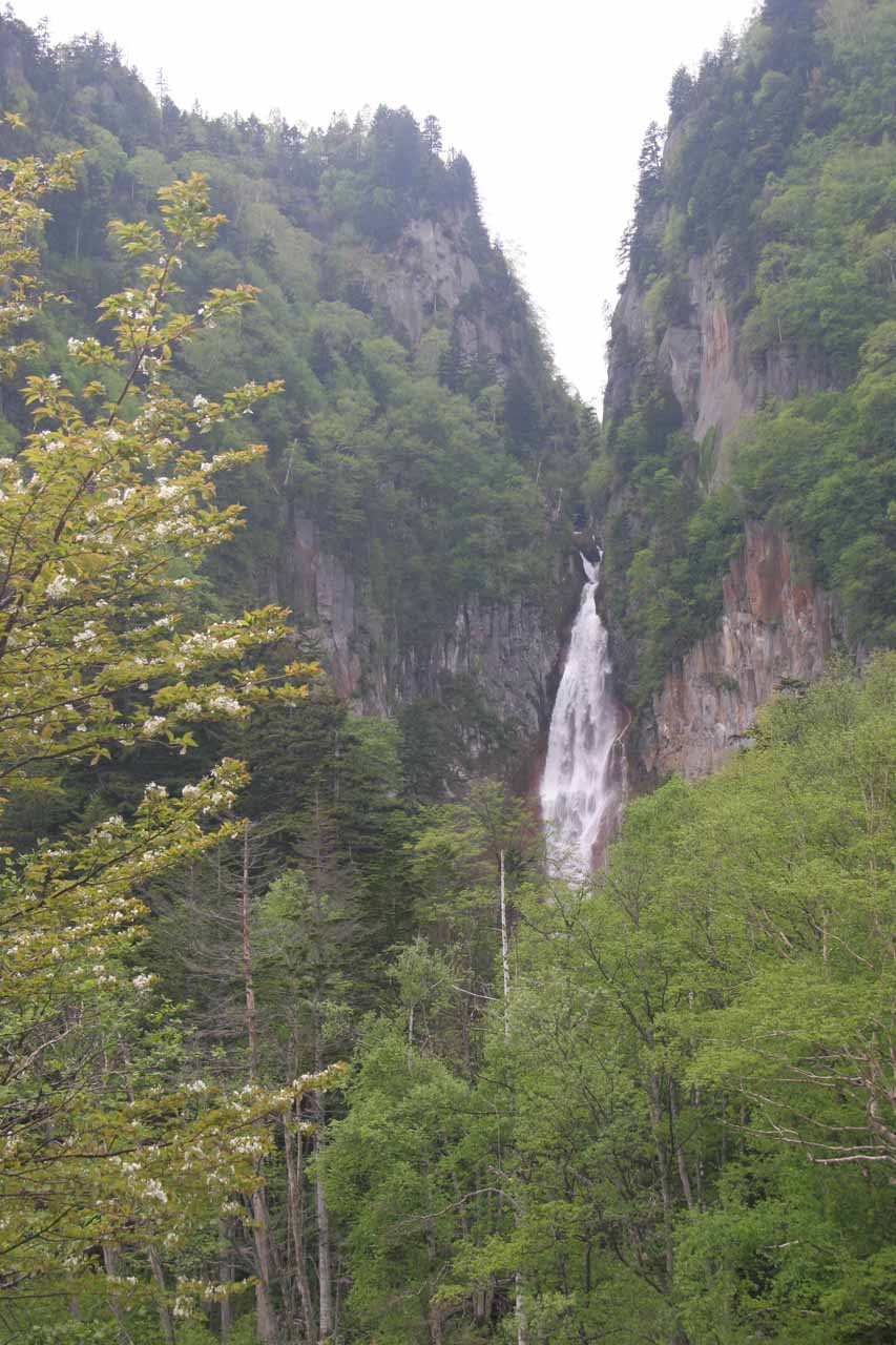 A more open ground-level view of the Ryusei Waterfall