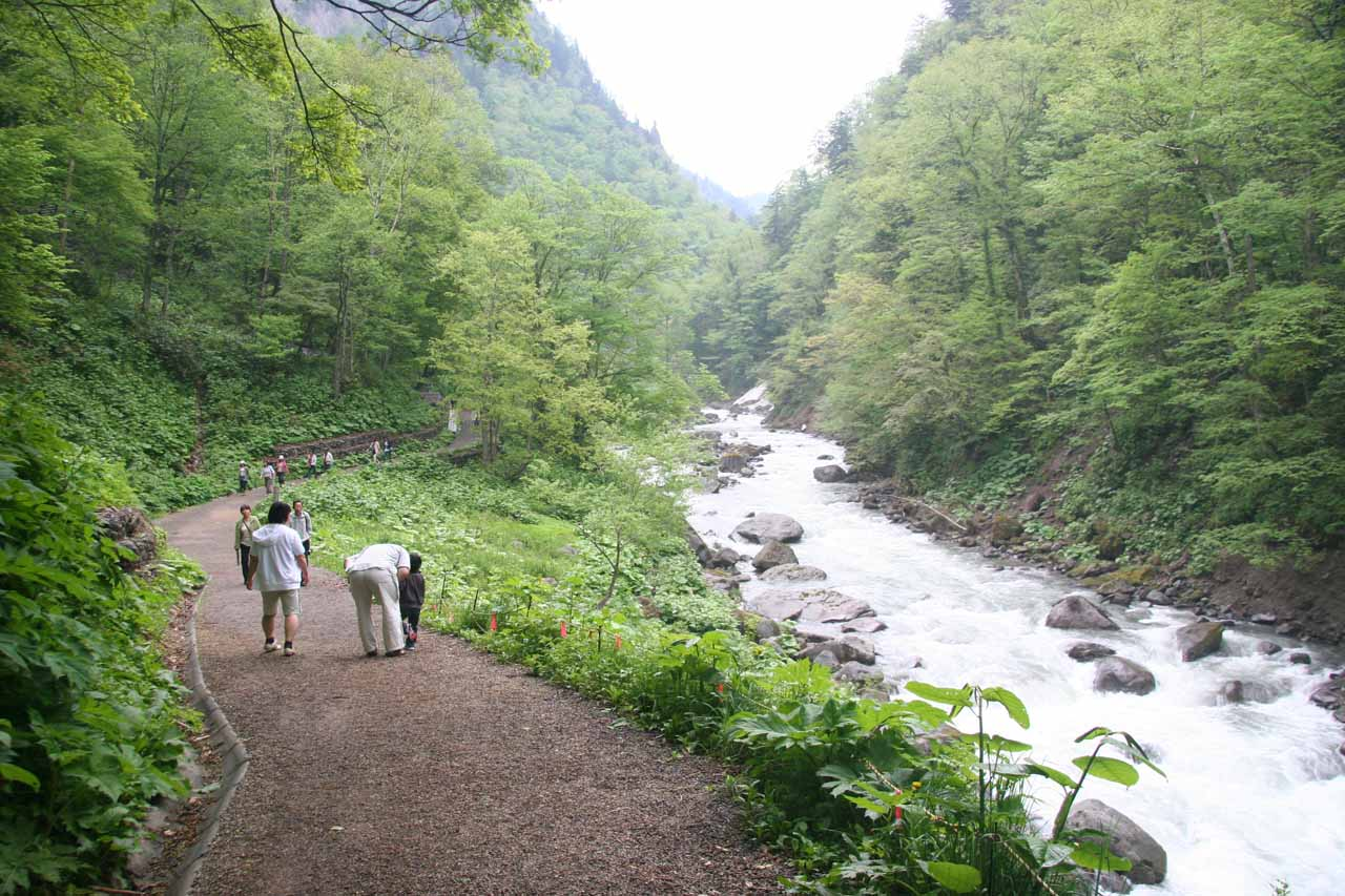 The trail followed along the river in the Tenninkyo Gorge on its way to the Angel's Robe Falls