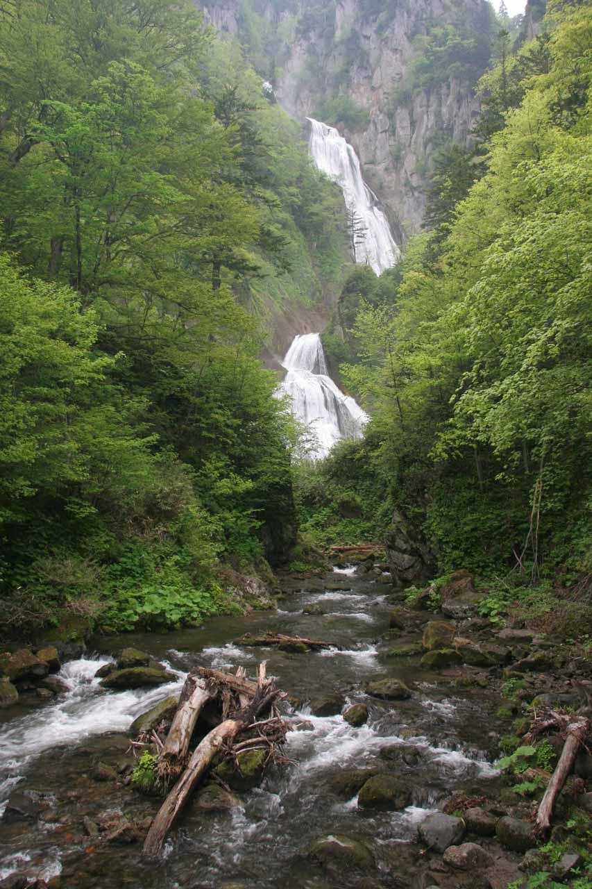 View of the Hagoromo Waterfall from the bridge