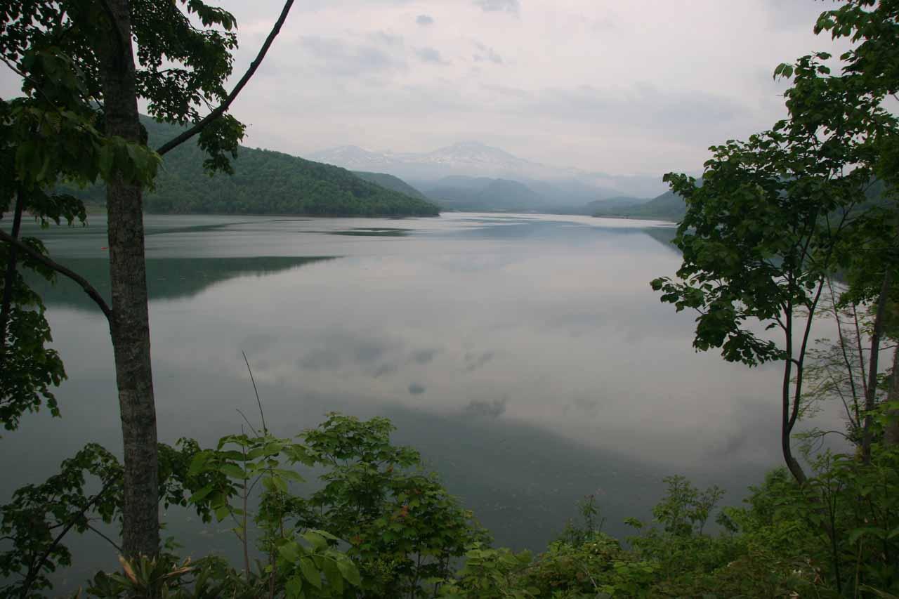 Following a large manmade reservoir back towards Asahikawa from Daisetsuzan NP