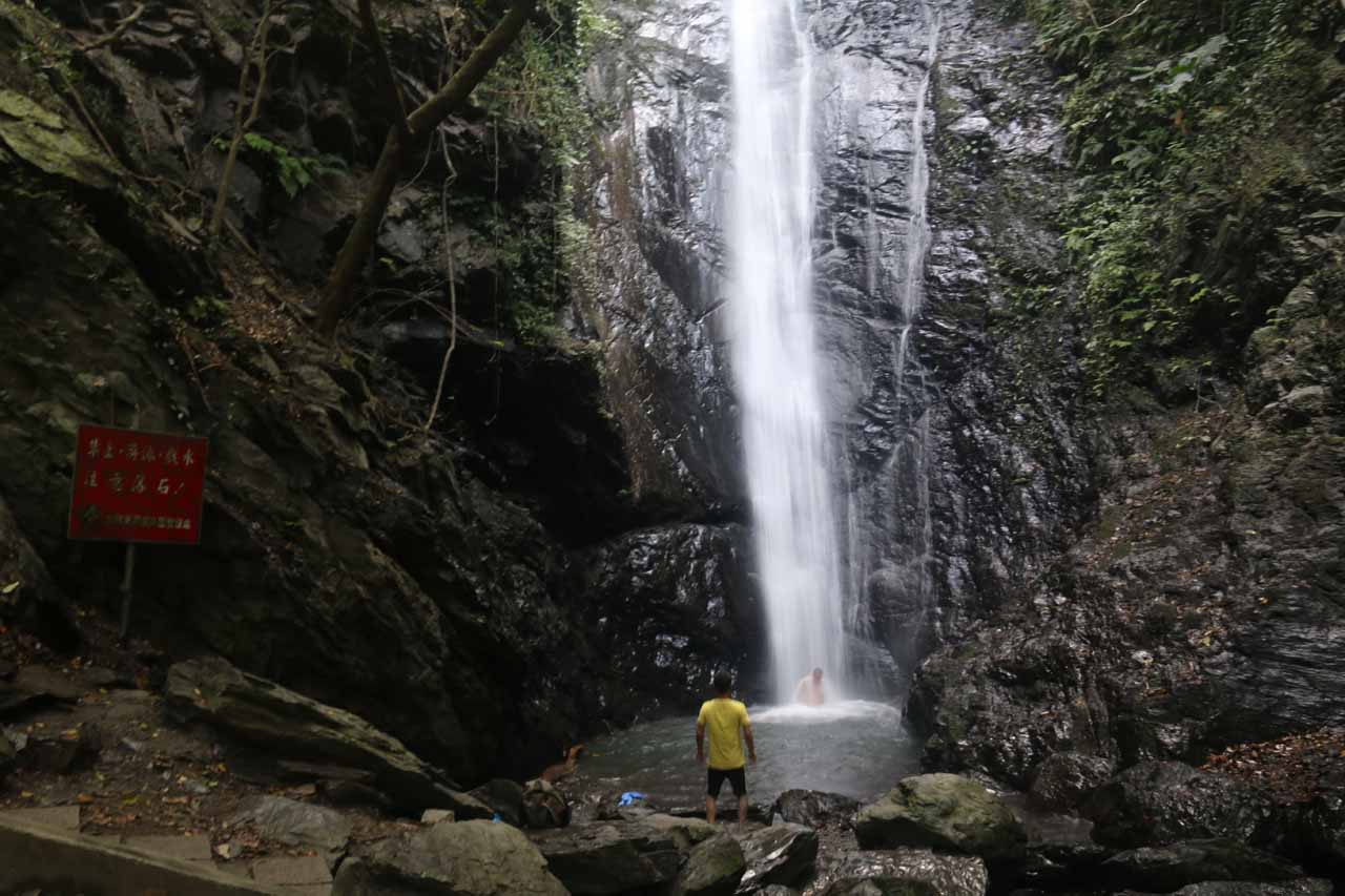 Context of the plunge pool and bottom half of the Dajin Waterfall