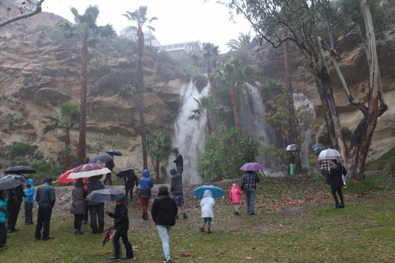 When it was raining hard, the Dana Point Waterfall became quite the spectacle as lots of people went over to this spot to see the rare event