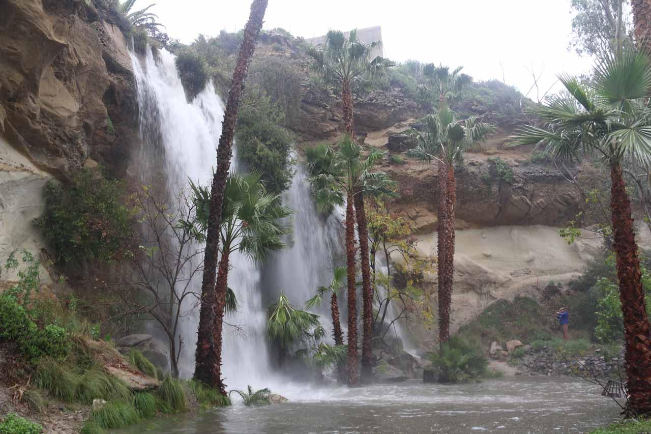 Dana Point Waterfall gushing under the heavy rain