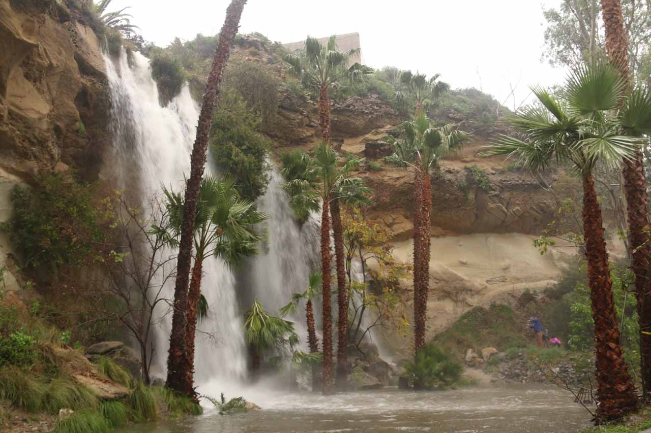 The gushing Dana Point Waterfall in rare form as it was pumping under the heavy rain