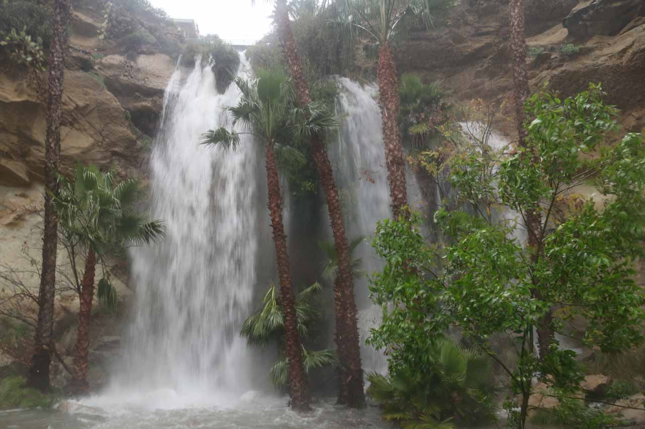 Misty frontal view of the Dana Point Waterfall
