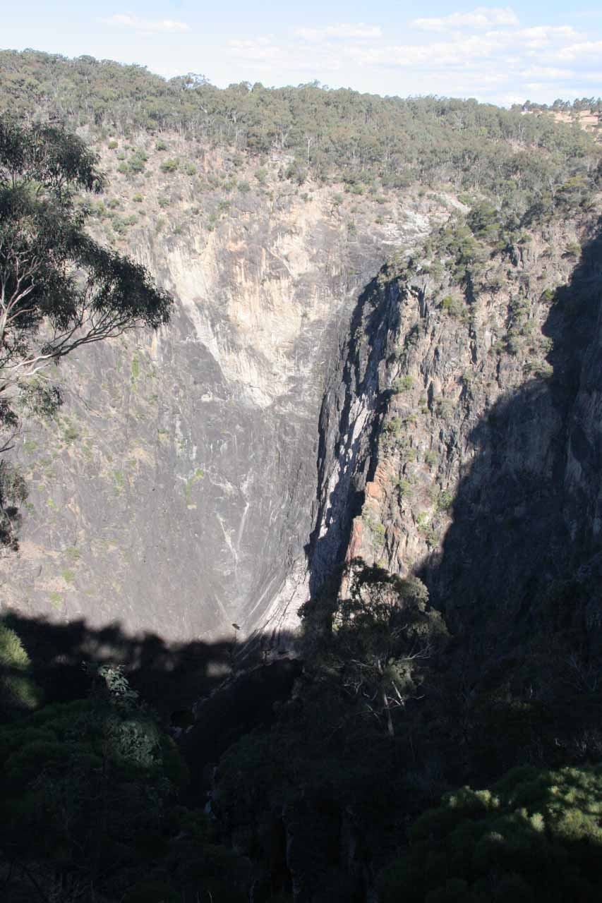 Looking down at the non-existent Dangarsleigh Falls
