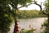 Danska_Fall_086_07292019 - I encountered this Swedish family enjoying a rope swing as they plunged into the lake to cool off from the humidity (though I'm sure mosquitos were opportunistic in taking their shots)