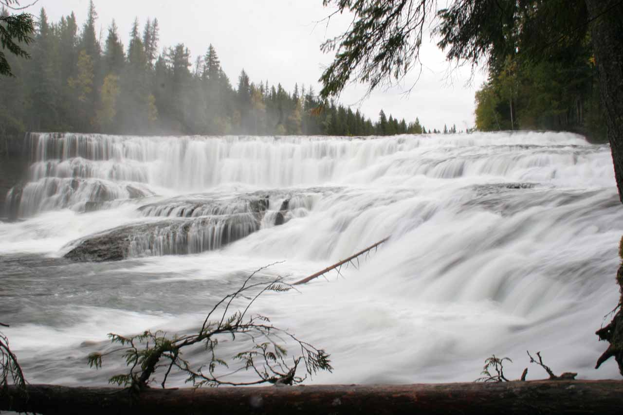 A closer look at the impressive Dawson Falls after hiking and scrambling right up to its base