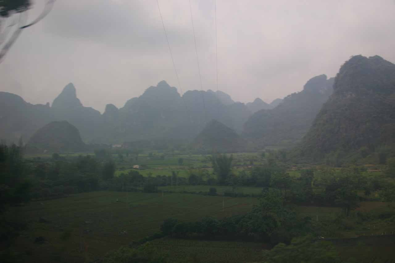 View of the mountainous scenery as we were making our way from Nanning to the Detian Waterfall via Daxin City