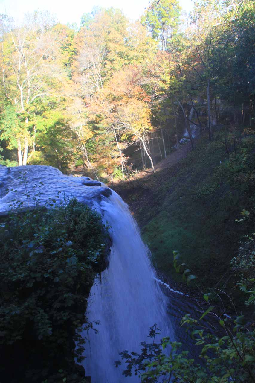 Looking over the brink of DeCew Falls from inside the Morningstar Mill