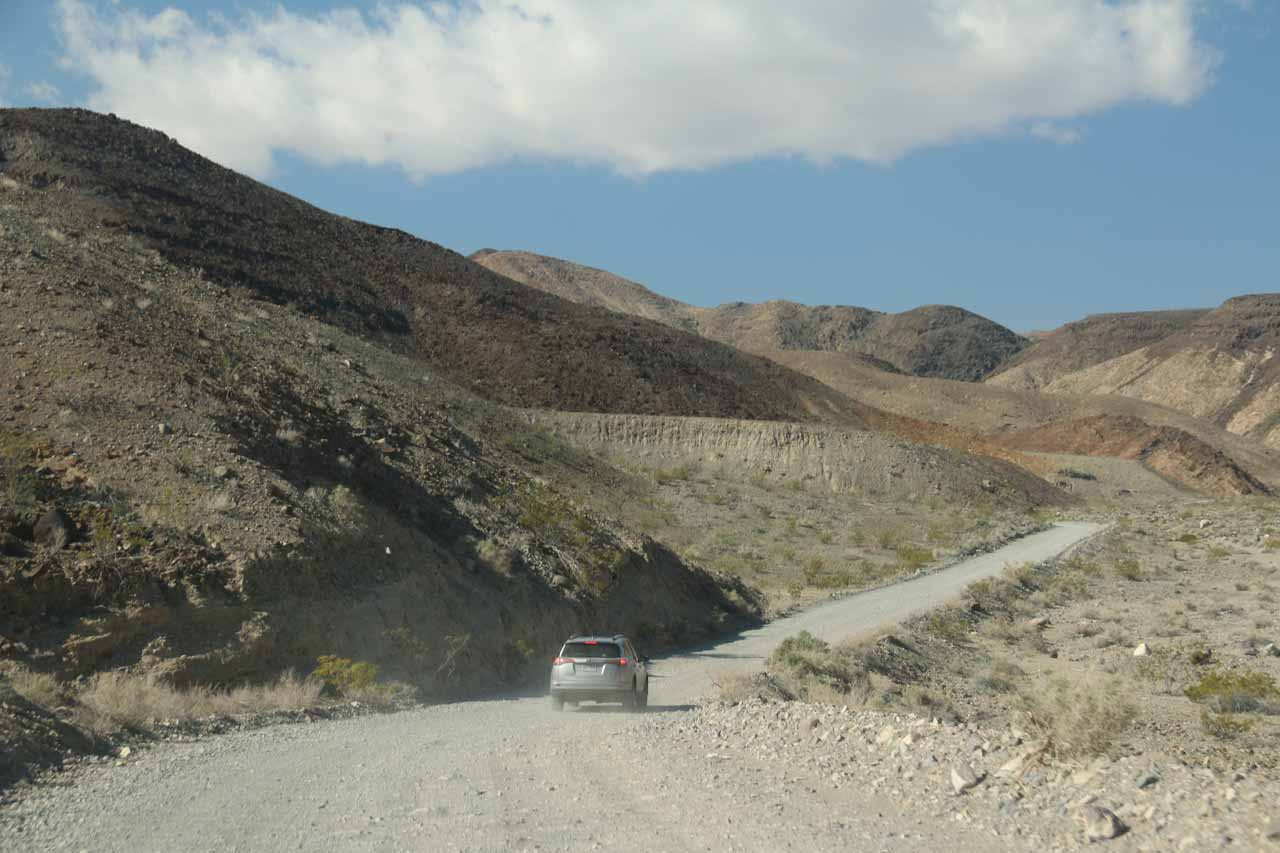 Driving along the unpaved Darwin Falls Road after leaving the Hwy 190 about a mile west of the Panamint Springs Resort