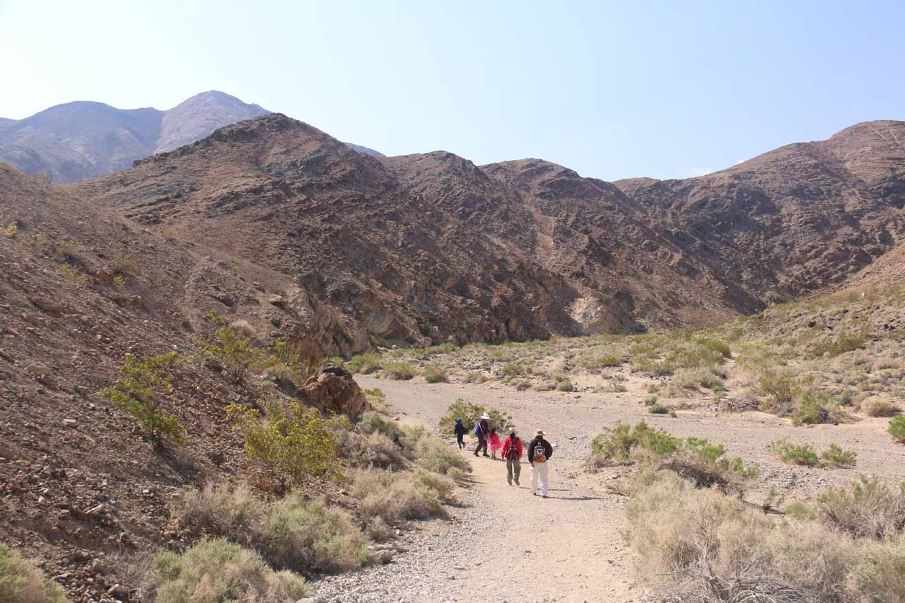 The family making their way down to the Darwin Wash from the trailhead