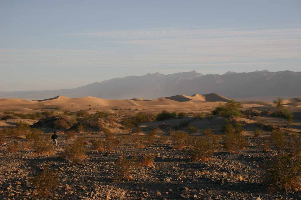 Approaching some sand dunes in Death Valley