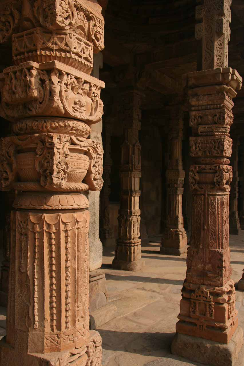 Amongst some interesting pillars surrounding the courtyard within the Qutb Minar complex