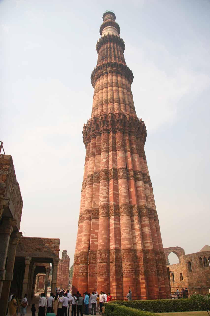 Looking right up at the Qutb Minar