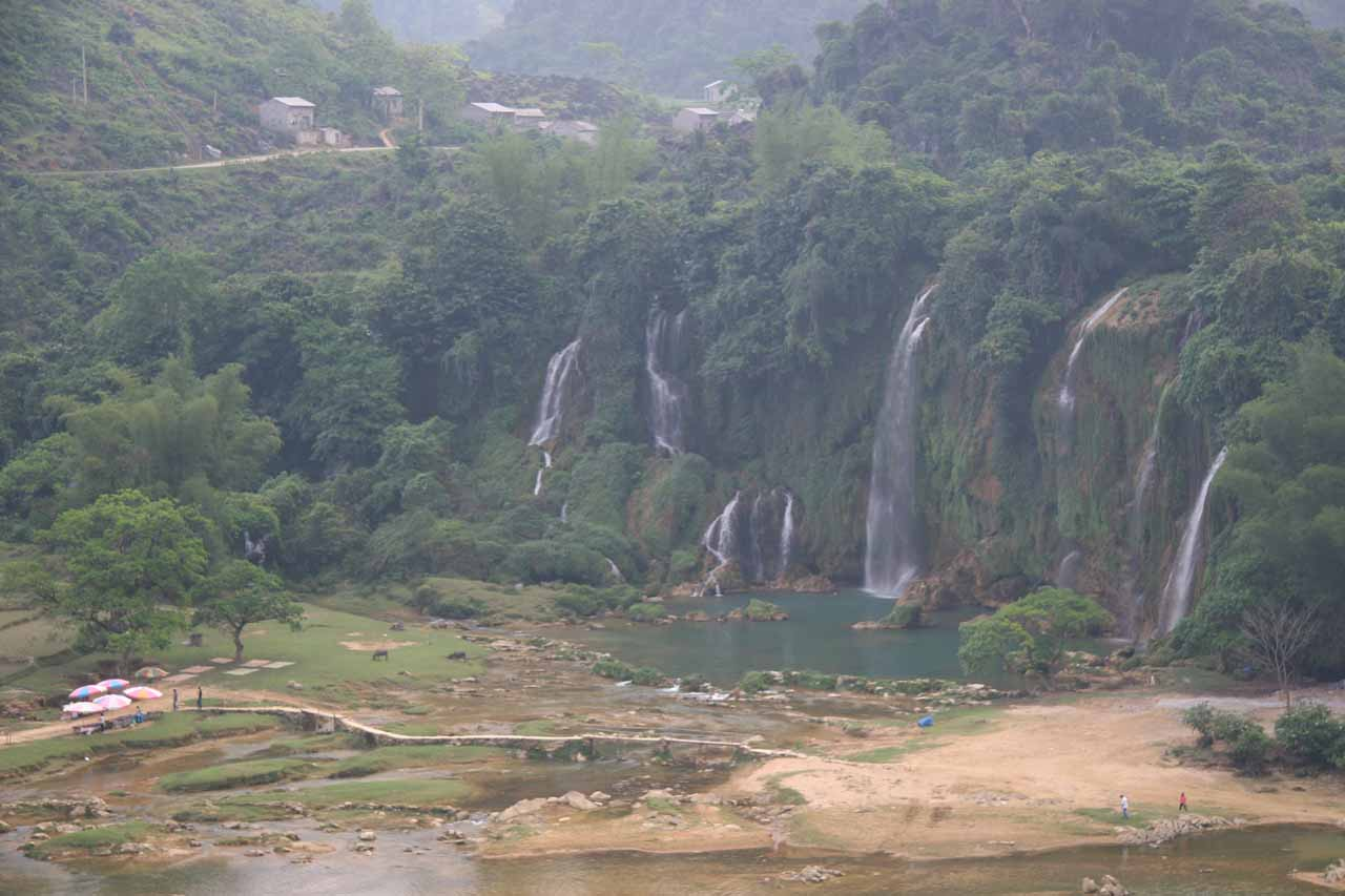 Looking down at the Ban Gioc Waterfall from the upper platform