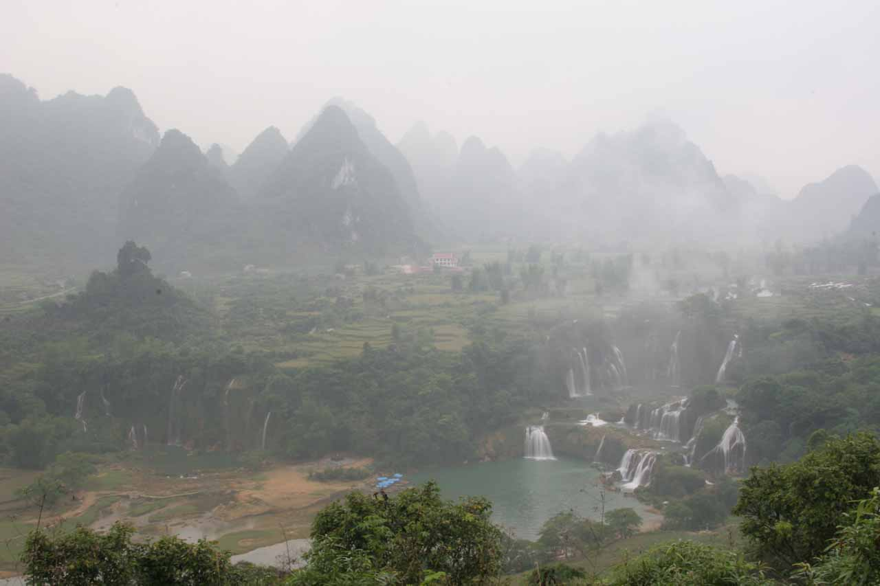 The very steamy and misty Detian Waterfall scene the morning after we stayed here
