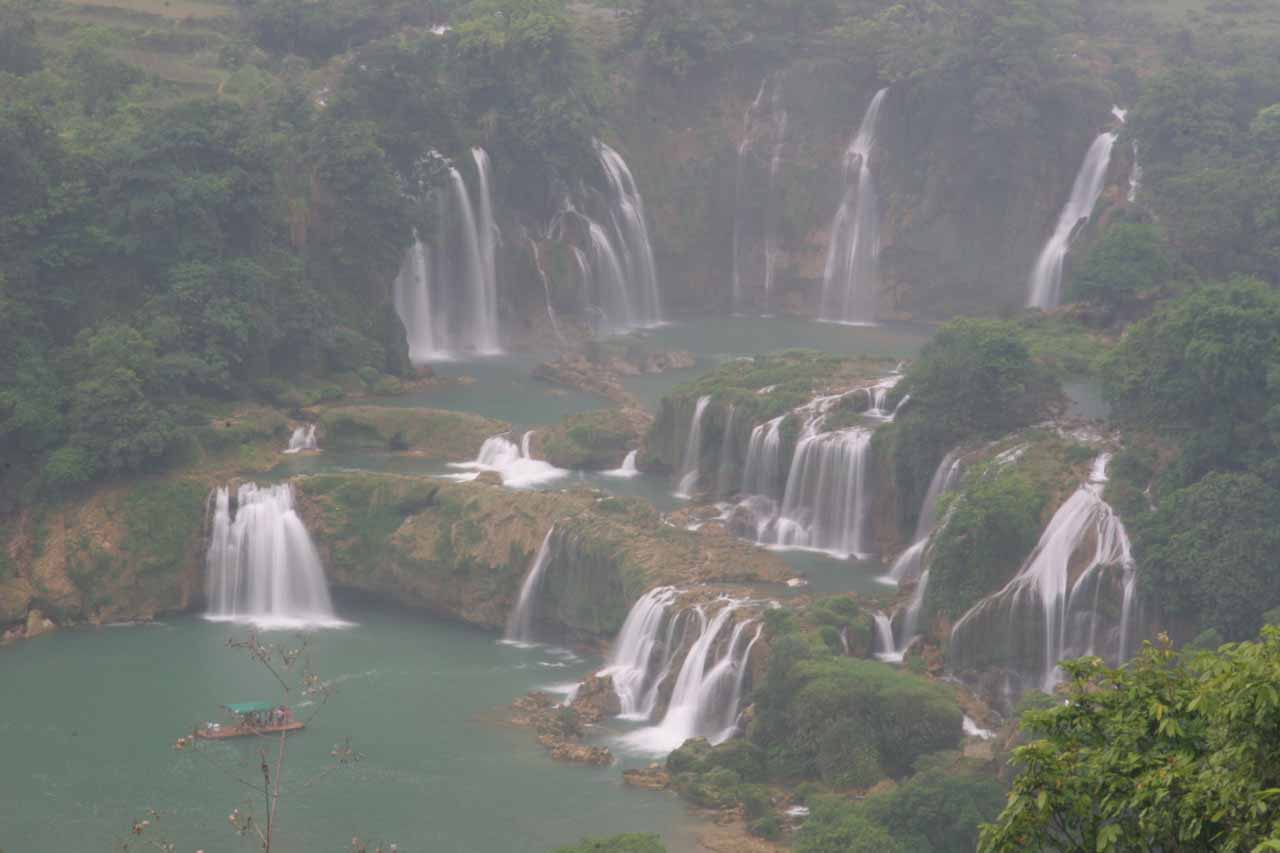 Looking down at the main Detian Waterfall
