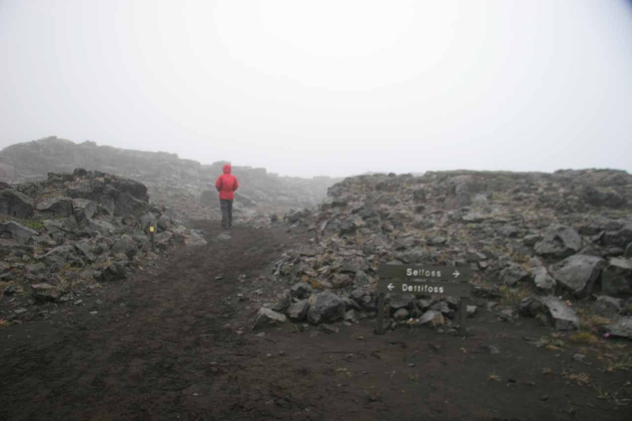 On the foggy trail to Dettifoss