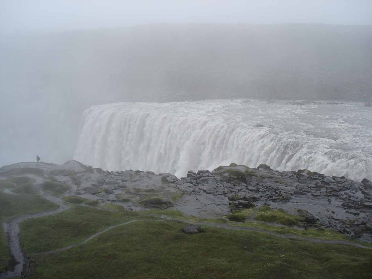 The wet, misty, and cold west bank of Dettifoss