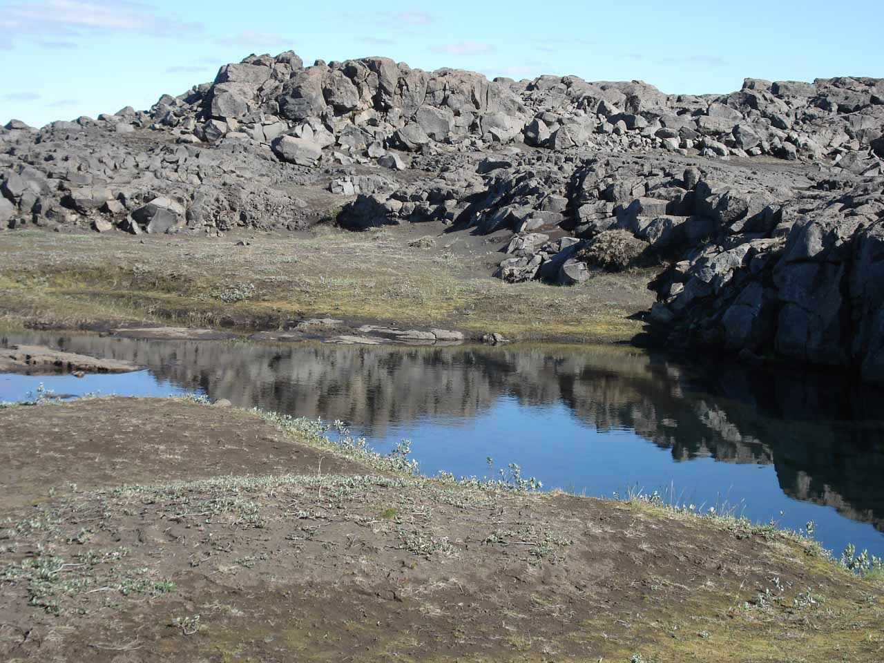 The rains from yesterday produced little reflective tarns like this one