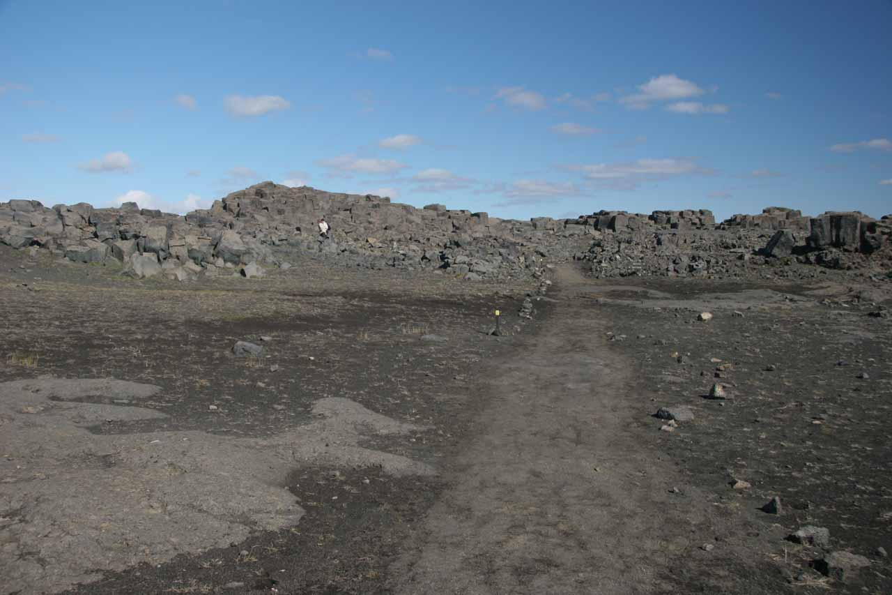 Walking across the moonscape to Dettifoss