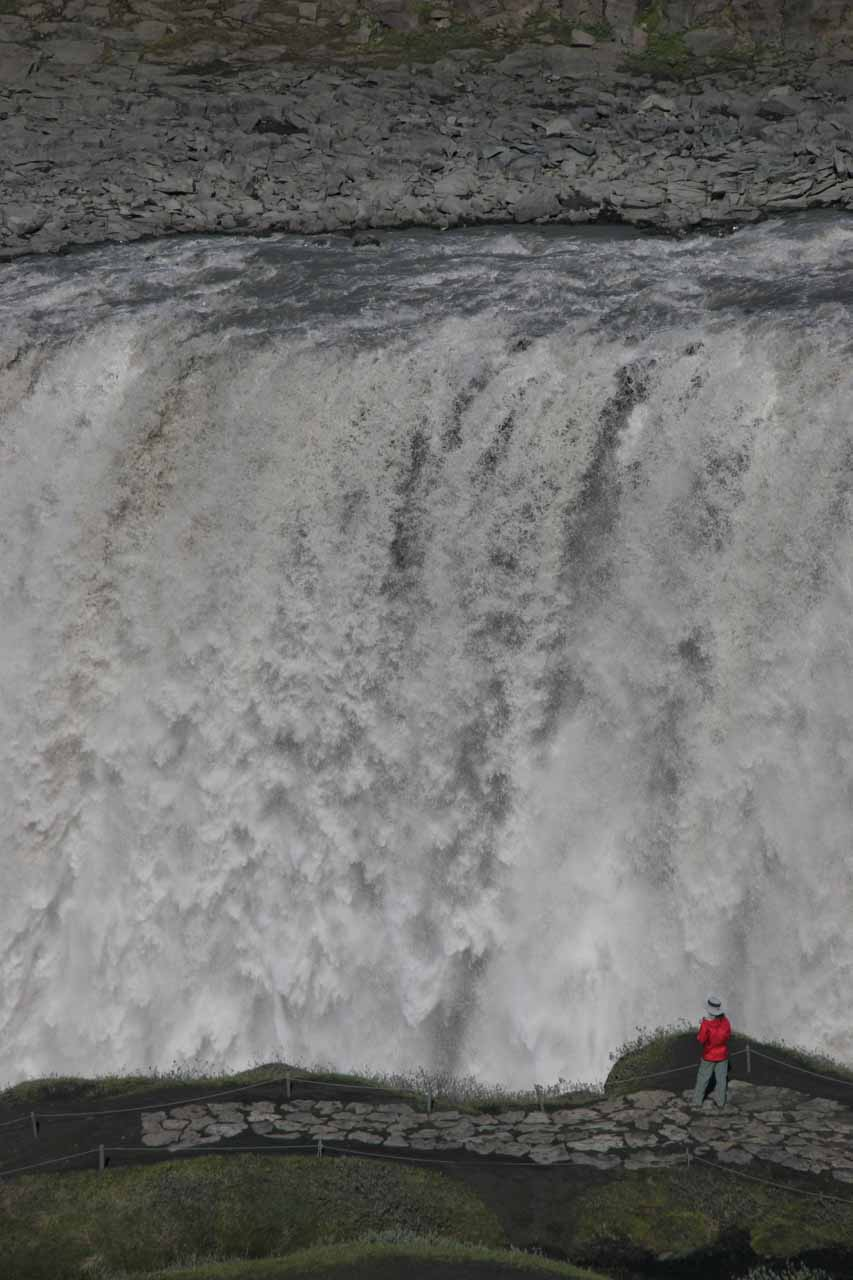 Julie dwarfed by Dettifoss at its west bank
