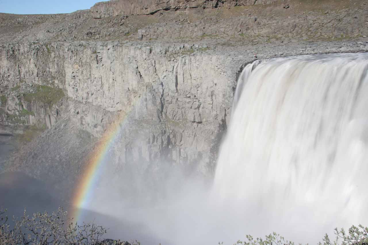 Dettifoss and rainbow on the Jökulsá á Fjöllum River cutting through Jökulsárgljúfur Canyon