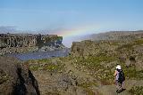 Dettifoss_184_08122021 - Context of Mom heading back down the Jokulsa a Fjollum towards the rainbow that still wafts up from Dettifoss